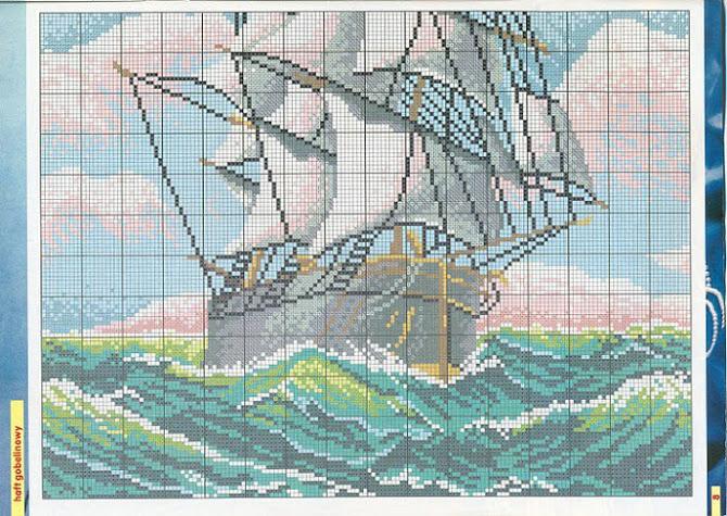 Вышивка крестиком корабль 87