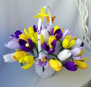 Мк цветы из гофрированной бумаги