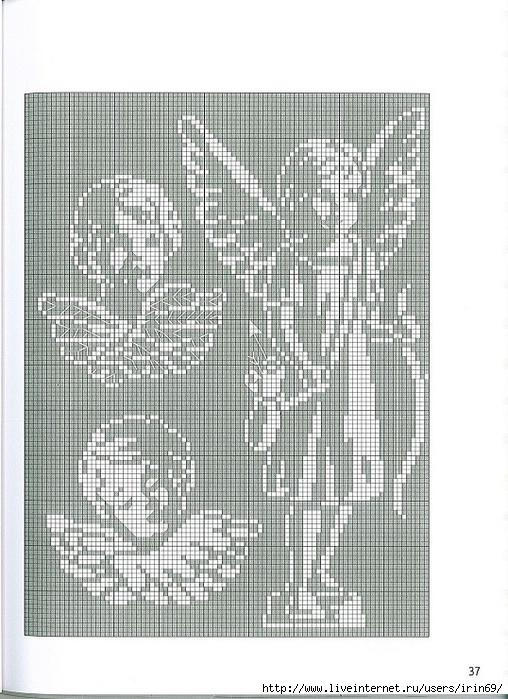 Схемы вышивки ангел монохром
