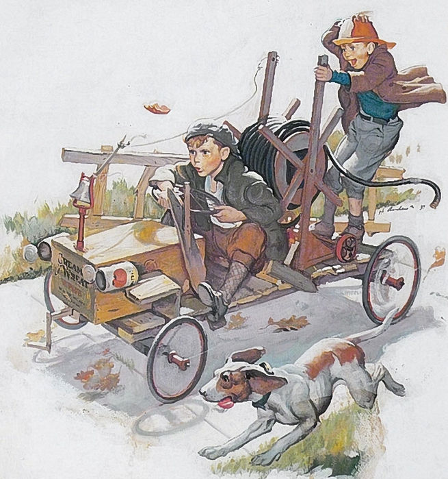 Harry Anderson (1906 � 1996)boys-riding-on-a-homemade-fire-engine (655x700, 369Kb)