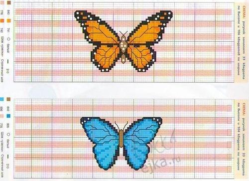 Схемы вышивка крестом бабочки
