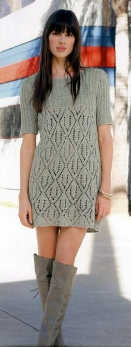 платья-туники спицами