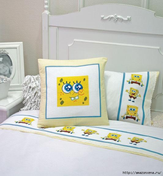 Вышивка на детском постельном