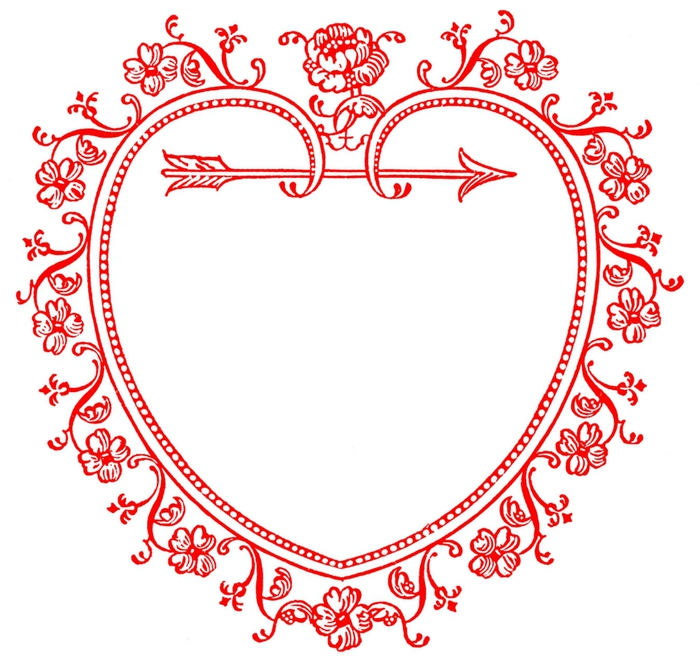 heart frame vintage image GraphicsFairyred (700x656, 234Kb)