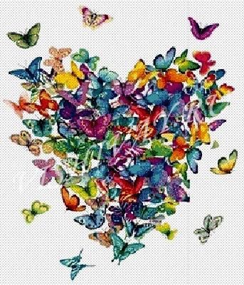 Сердце из бабочек (343x400,
