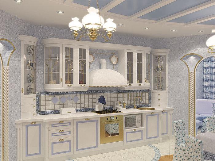 Интерьер кухни в стиле гжель фото