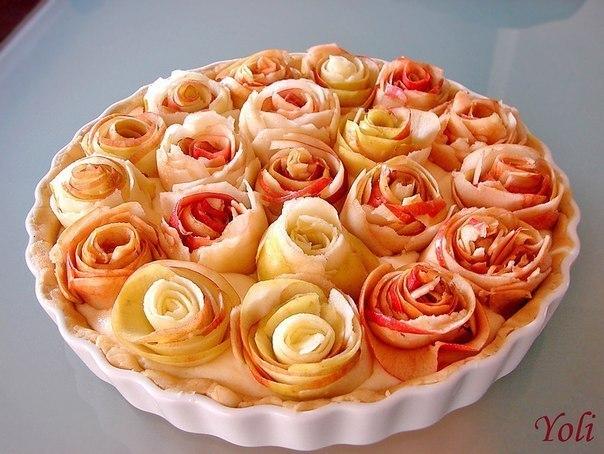 Яблочный пирог с розочками (604x454, 72Kb)