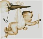 Схемы для вышивки.  Знаменательное событие в каждой семье - рождение малыша, для этого случая можно вышить открытку.