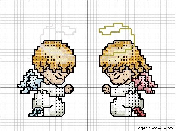 Маленькие схемы вышивки ангелочки