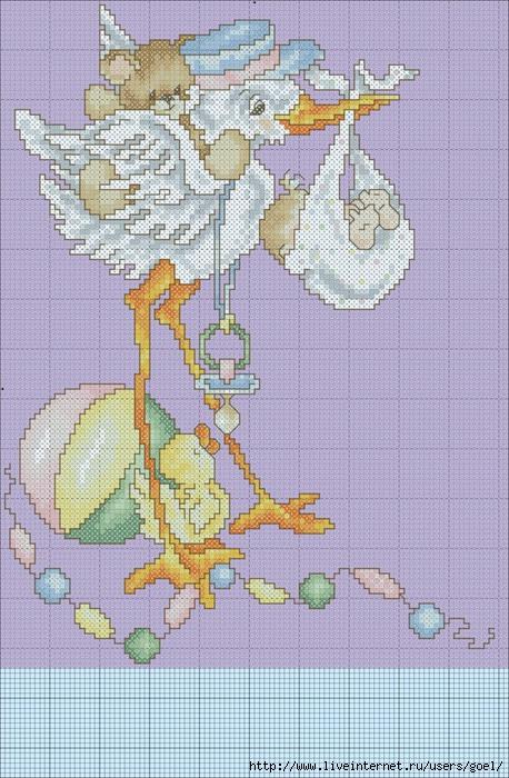 Ангелочек с аистом схема вышивки 7
