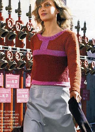 "ТЕХНИКА ВЯЗАНИЯ...  Вам потребуется: 600 г пряжи  ""Merino Max della Lane Mondial "", из них: 250 г бордового цвета..."