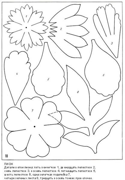 Выкройка для цветов из ткани