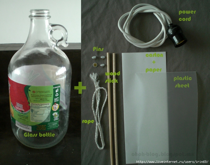 Настольная лампа из бутылка своими руками мастер класс