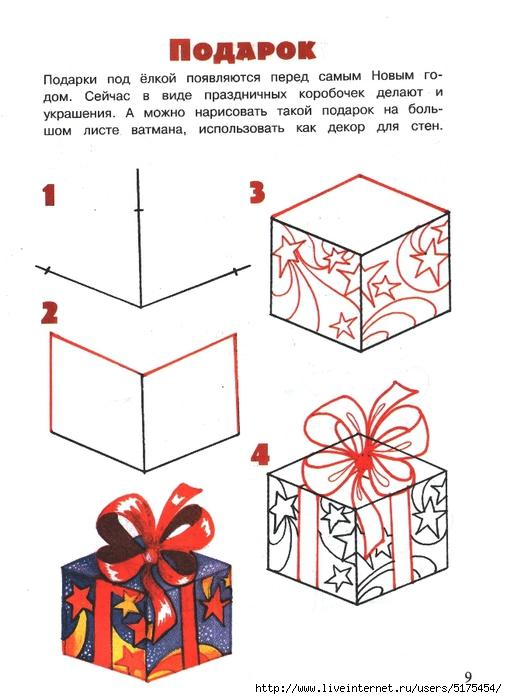 Как нарисовать коробку с подарком поэтапно карандашом для