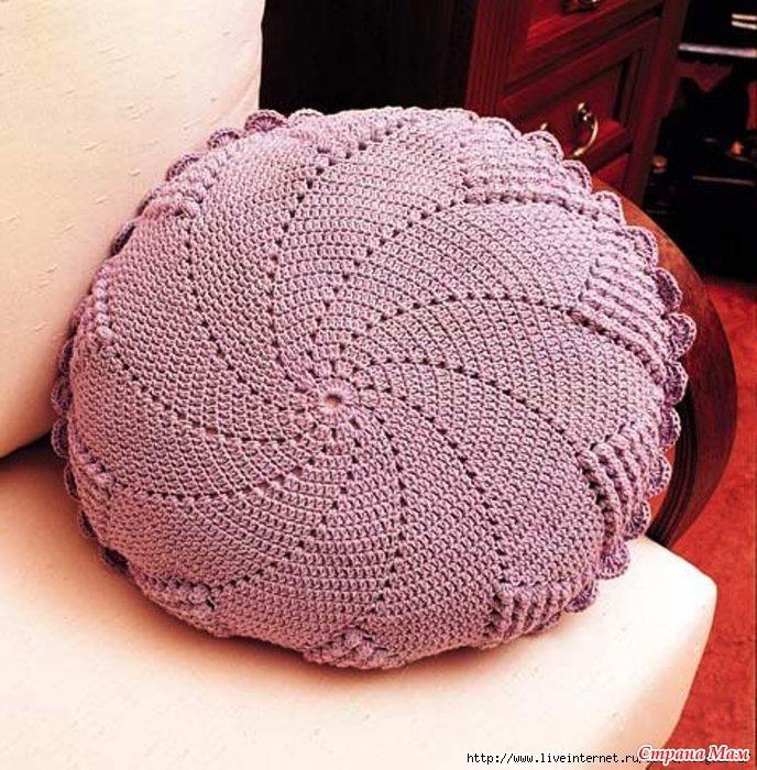 Круглая подушка крючком