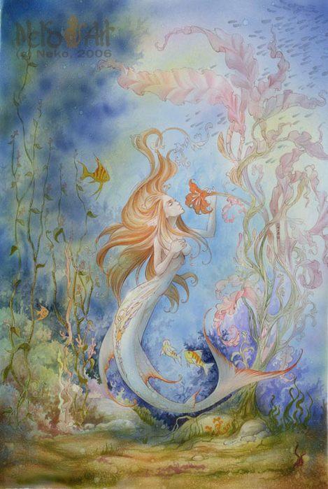 Русалка акварелью рисунок