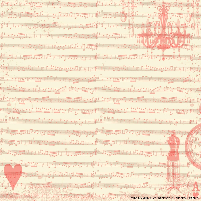 FREE Digital Scrapbook Paper - red sheet music collage (700x700, 422Kb)
