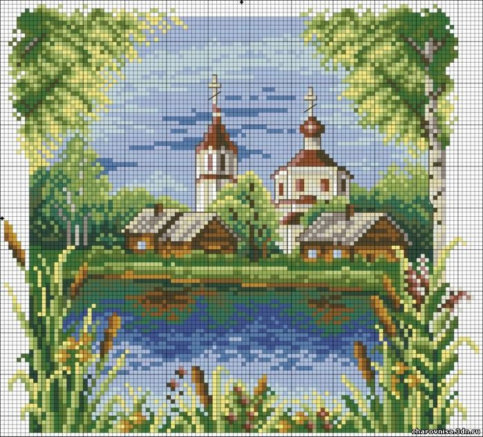 Вышивка крестиком - Церковь у воды.  Категория.