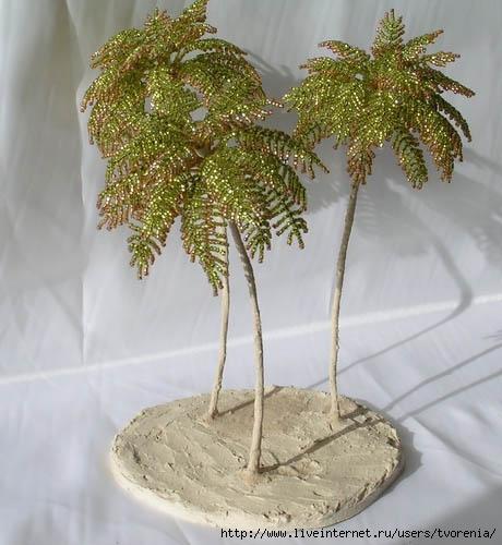 Пушистая пальма из бисера. МК.