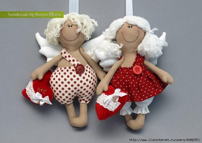Ангелочки из ткани своими руками фото
