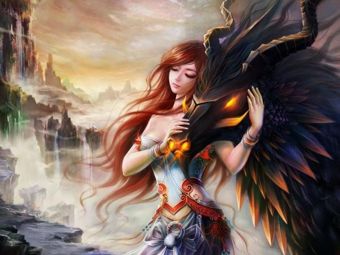 девушка с драконом (700x525, 97Kb)