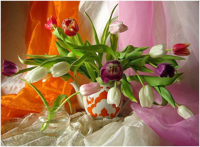 Фото натюрморт с весенними цветами
