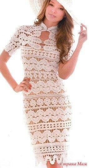 Платье белое вязанное летнее