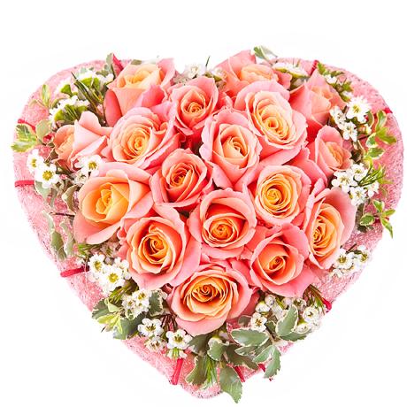 Цветы букет в виде сердца