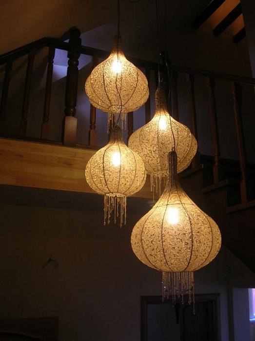 Красивые настольные лампы своими руками фото