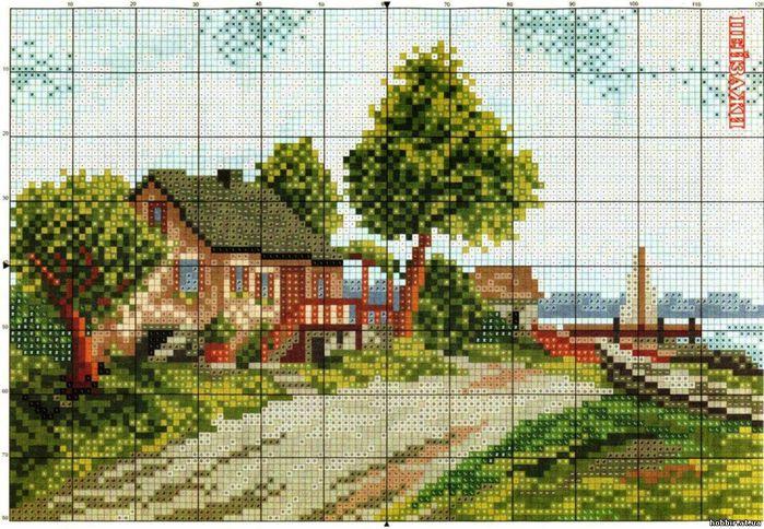 Домик в деревне схема крестом