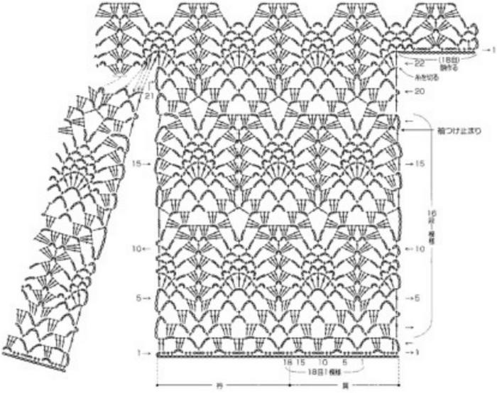 Вязание узора ананас в изделиях