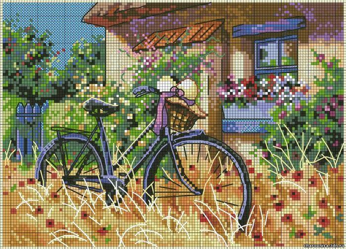 """Комментарии (стр. 1) - Схема вышивки  """"Велосипед у дома """" - Схемы автора  """"080787 """" - Вышивка крестом."""
