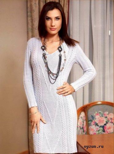 вязаное спицами платье - Самое