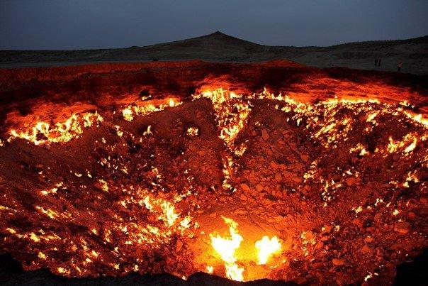 В Туркменистане располагаются пылающие вечногорящим огнем Врата в Ад. Любое попавшее туда живое существо обречено на верную гибель (604x403, 76Kb)