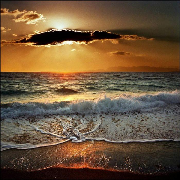 Теплое море и закат, остров Родос, Греция (700x700, 599Kb)