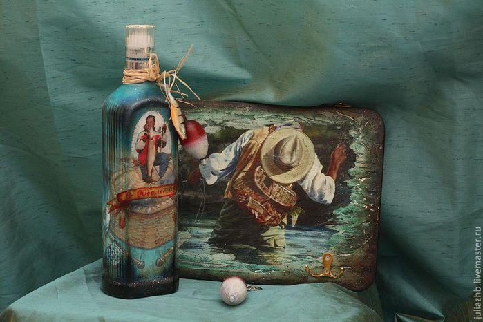 Коньячная бутылка, подарок декупаж для мужчин
