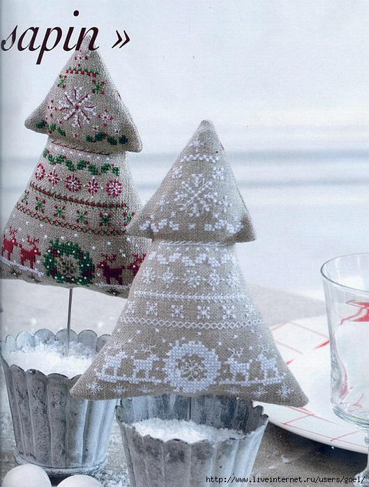 Новогодние елочки из ткани своими руками