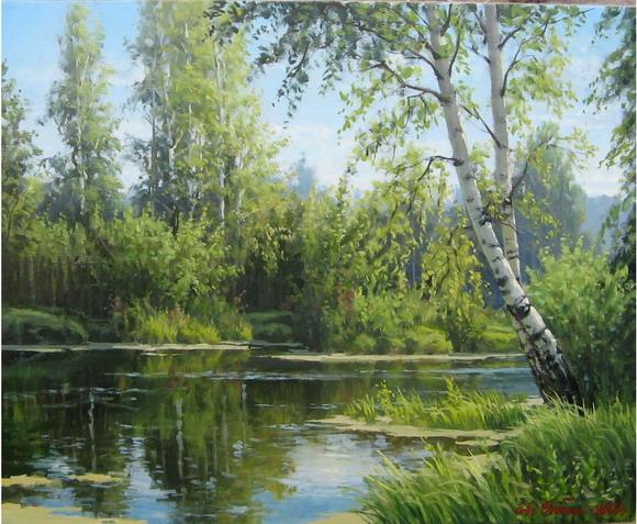 Евгений Бобин . Лесное озеро. Вязники (580x477, 132Kb)