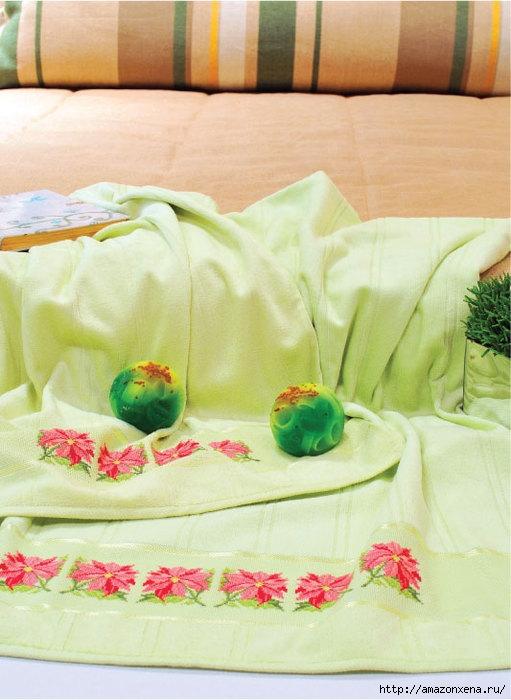 Схема нежной цветочной вышивки для банного полотенца