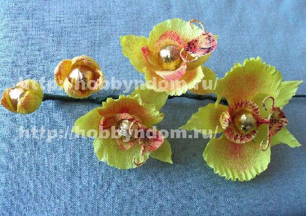 Как сделать орхидею из конфет и бумаги