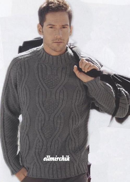 Вязание на спицах мужской свитер сверху 61