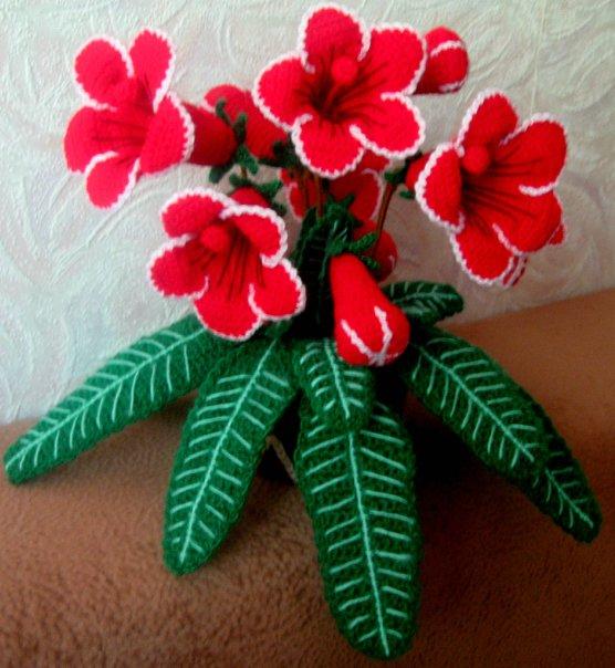 Вязание цветок в горшках крючком видео
