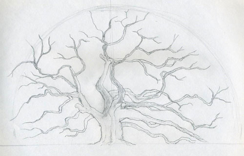 Using the initial half circle as a guideline, outline the rough contours of the foliage.
