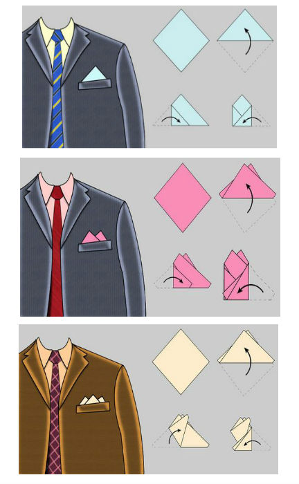 Сложить платок в карман пиджака на свадьбу