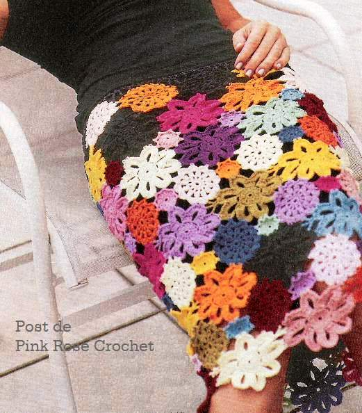 Как вязать крючком юбку из цветов
