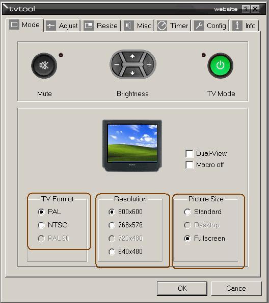 Еще одна необходимая операция, которую надо сделать - задать порт вывода видео (S-Video или композит).