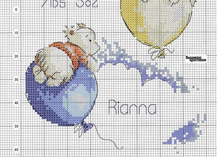 Мишки на шарике вышивка