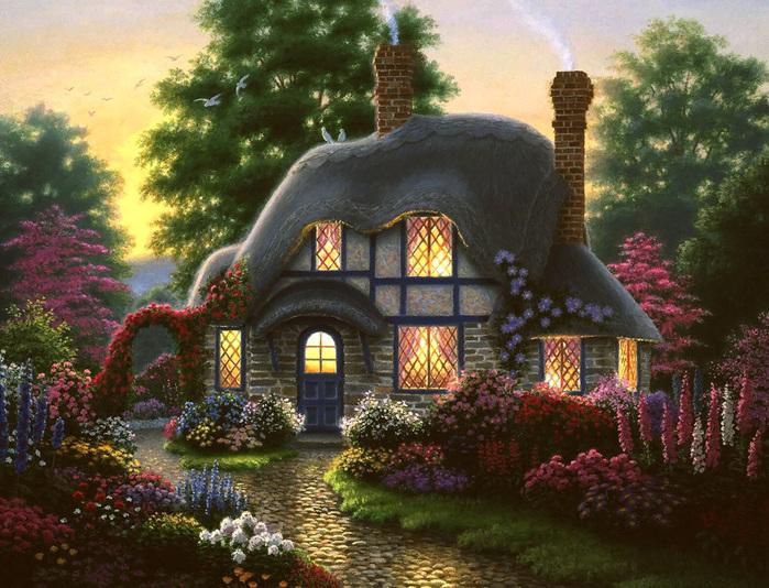 """Предпросмотр схемы вышивки  """"Пейзаж, лес, дом """"."""