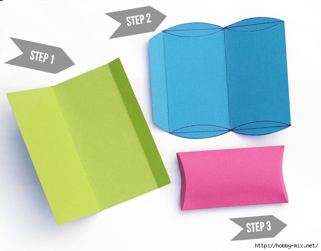 3 steps to make card stock pillow box (640x501, 129Kb)