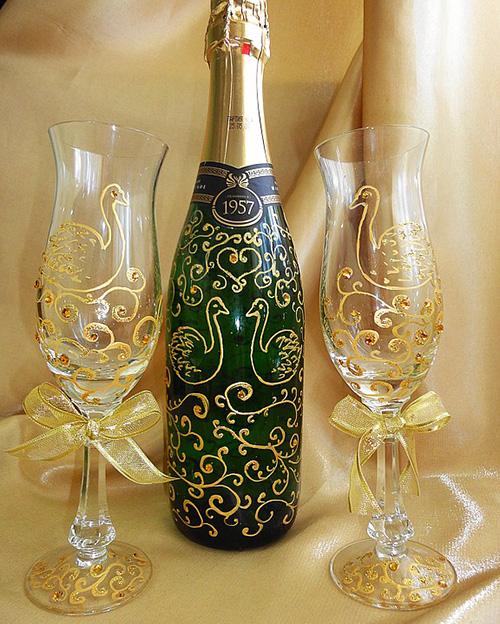 Декорирование бокалов для вина своими руками